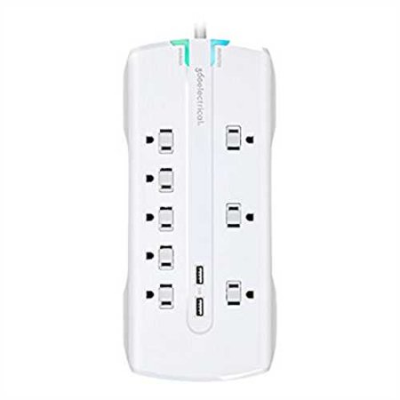 Refurbished 360 Electrical 360550 Visionary3.4 Surge Protector with 8 Outlets, Combo Data, Dual 3.4 Amp/17 Watt USB Charging