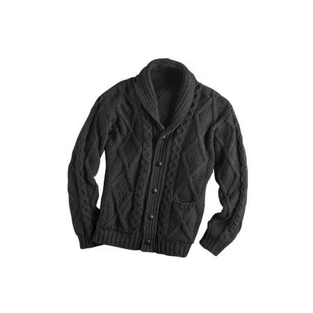 Men's Aran Shawl Collar Cable Knit Cardigan - Shawl Collar Cable Sweater