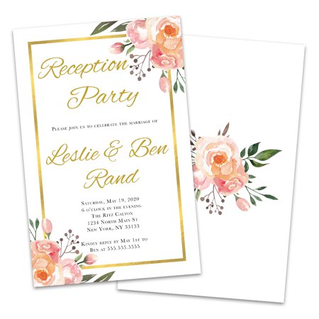 Gold Framed Floral Personalized Wedding Reception Invitations](Floral Wedding Invitations)