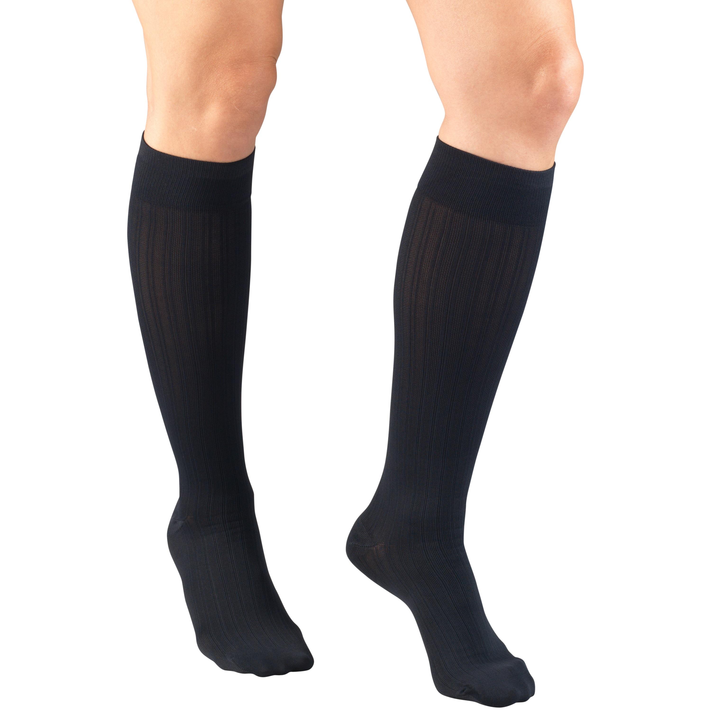 Truform Women's Trouser Socks, Dress Style, Rib Pattern: 15-20 mmHg, Navy, Large