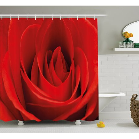 Couple Themes (Rose Shower Curtain, Close Up Macro of a Red Rose Bloom Fresh Natural Beauty Valentine's Day Couples Theme, Fabric Bathroom Set with Hooks, 69W X 70L Inches, Vermilion, by)