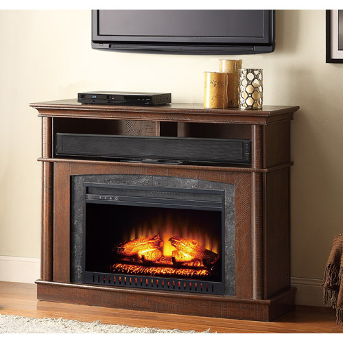 Whalen Media Fireplace Console, Rustic Brown