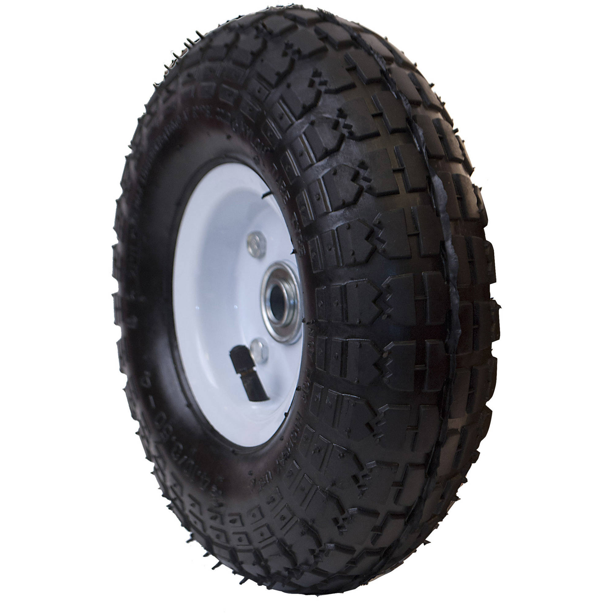 ALEKO WAP10 Pneumatic Replacement Wheel 10 In Air Filled Turf Tire for Hand Trucks Lawn Carts, Black Tire, White Rim