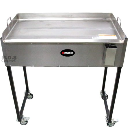 """Ematik Griddle 31"""" 100% Heavy Duty Gauge Steel Stainless Steel Catering Grill Camping Tailgate Taco Cart Portable"""