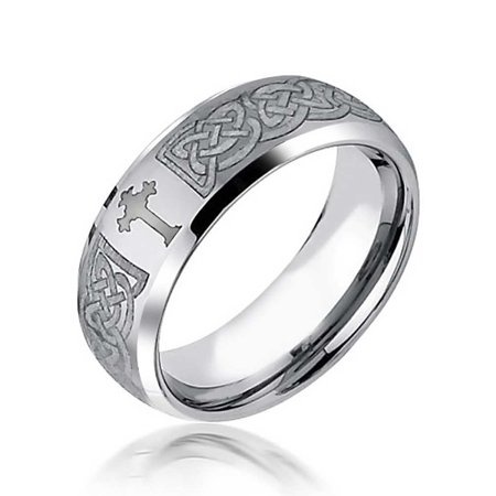 Irish Wedding Jewelry (Mens Celtic Cross Infinity Knot Tungsten Comfort Fit Curved Wedding Band Ring Brushed Finish)