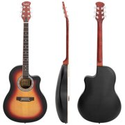 Glarry GT101 41 inch Acoustic Guitar Spruce Top Cutaway Round Voice Hole Round Back Sunset Color