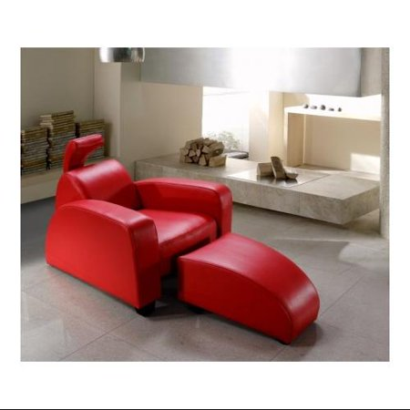 Vig Furniture Vg2t0674 Divani Casa Rosso Modern Leather Lounge Chair Ottoman