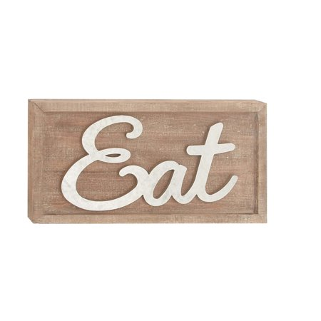 Fir Wood (Decmode Rustic 12 X 24 Inch Fir Wood And Metal Eat Wall Sign, White)