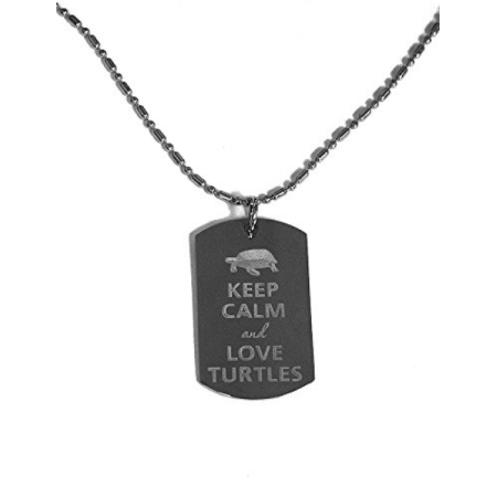 Dog Tags Chain (Keep Calm and Love Turtles- Luggage Metal Chain Necklace Military Dog)