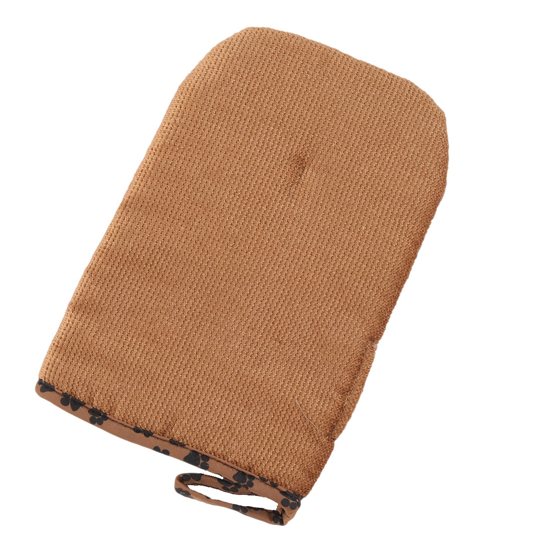 Pet Doggy Cat Shower Grooming Bathing Massage Glove Brush Brown 22.5cm x 15cm