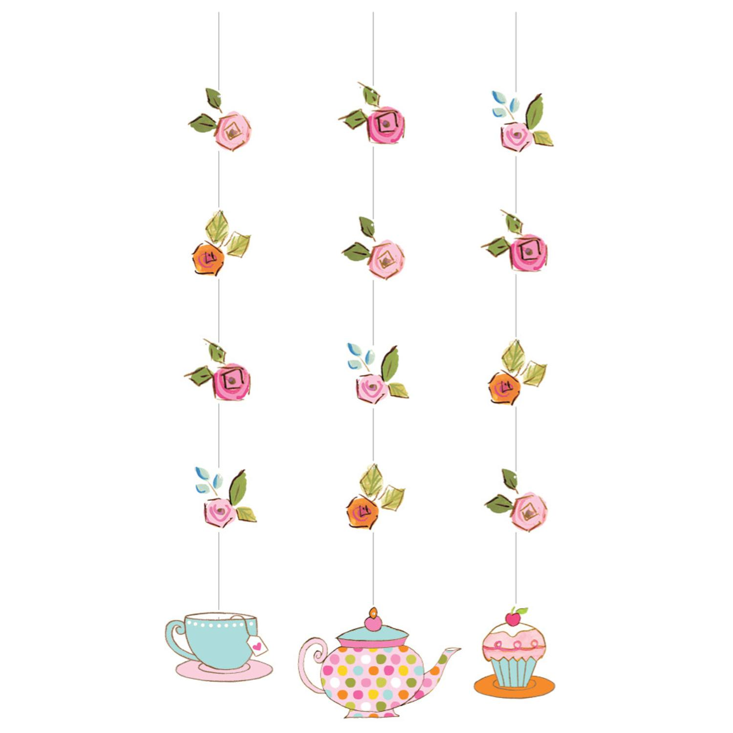 Pack of 18 Tea Time Floral Printed Hanging Cutout Party Decorations 36""