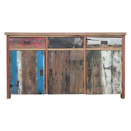 Chic Teak Indoor / Outdoor Buffet with 3 Doors and 3 Drawers Made from Recycled Teak Wood Boats ()