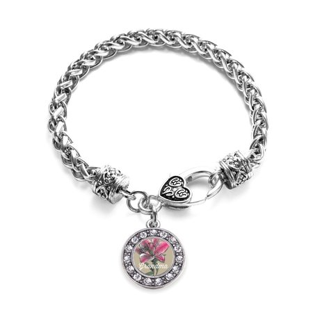 Grandma Lily Flower Circle Charm Braided Bracelet