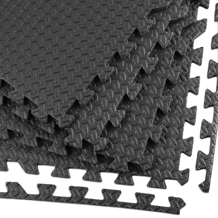 Clevr Interlocking EVA Foam Mat Cushion Flooring Tiles, Steel Black - Set of 24 (2' x 2') Covers 96 sq.ft. for Gym Workout
