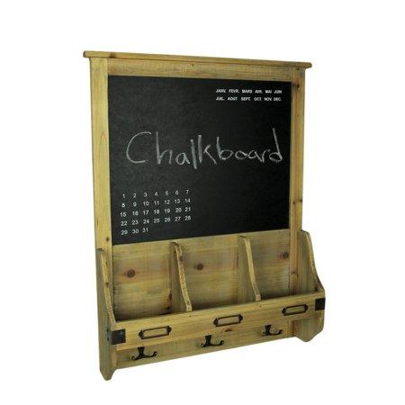 Rustic French Farmhouse Style Wooden Chalkboard Mail Center Organizer Key Rack