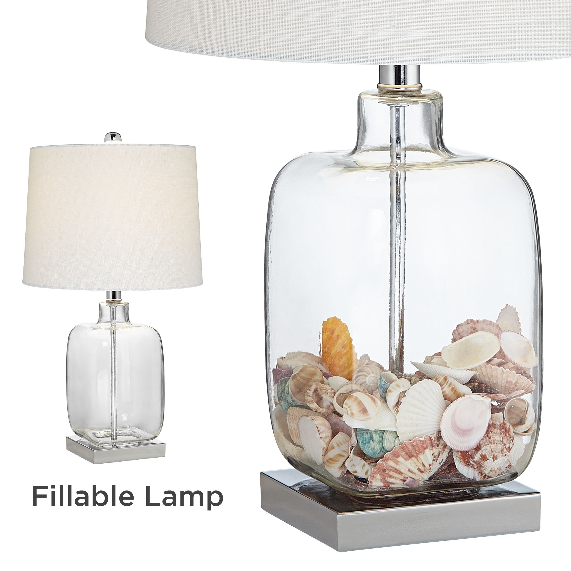360 lighting coastal accent table lamps set of 2 clear glass fillable sea shells white drum shade for living room family bedroom