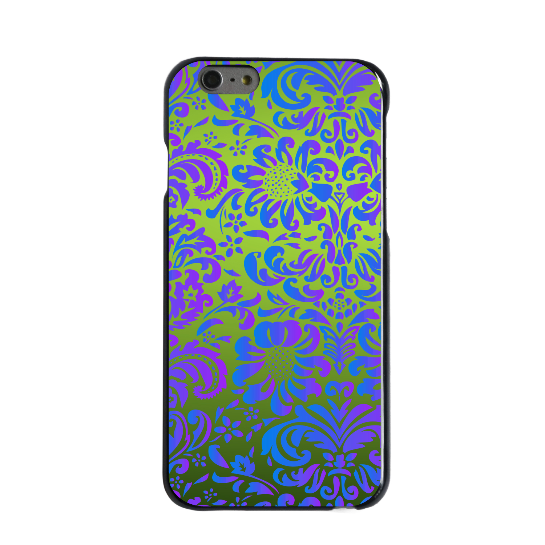"CUSTOM Black Hard Plastic Snap-On Case for Apple iPhone 6 PLUS / 6S PLUS (5.5"" Screen) - Green Purple Blue Floral Pattern"