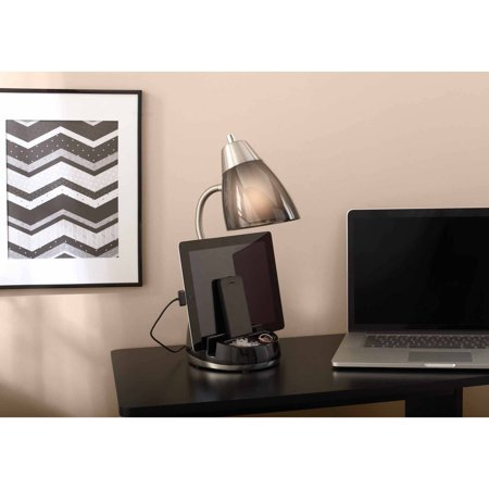 Mainstays Tablet Organizer Desk Lamp with CFL Bulb Compact Fluorescent Desk Lamp