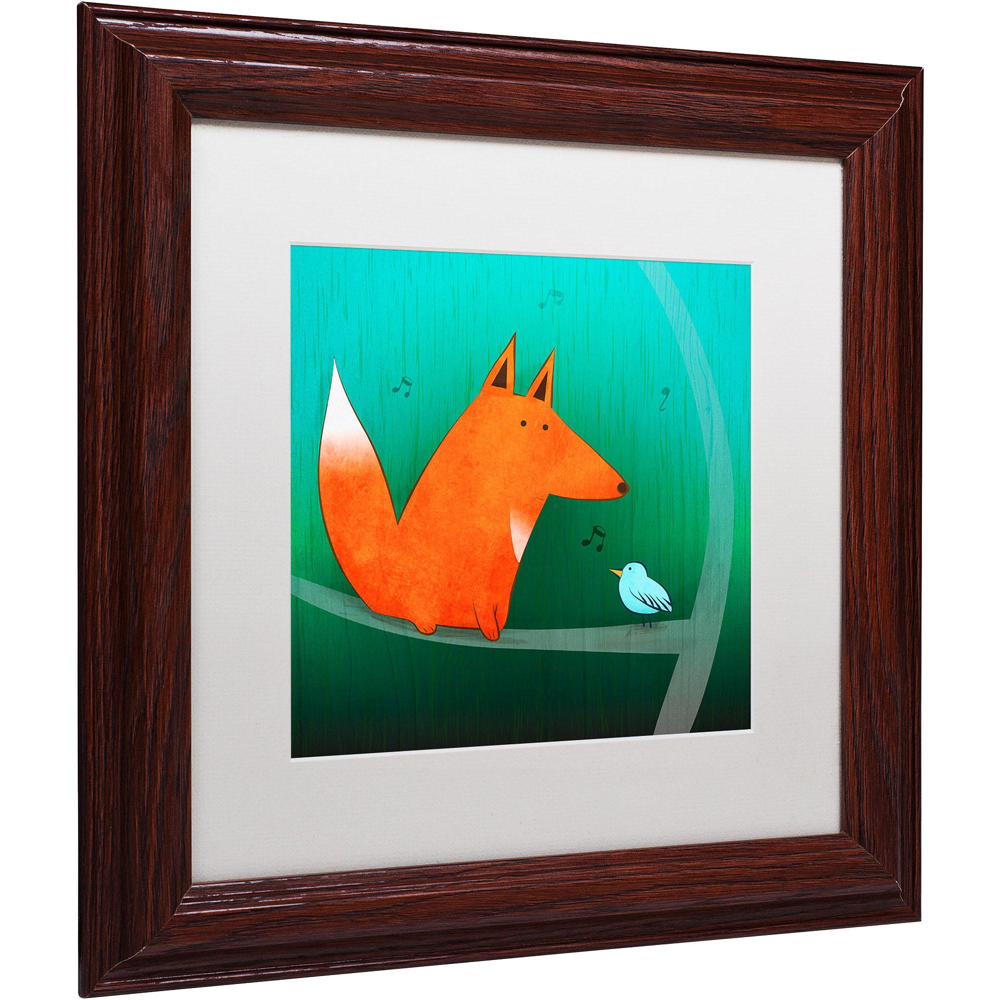 """Trademark Fine Art """"Fox in Tree"""" Canvas Art by Carla Martell, White Matte, Wood Frame"""