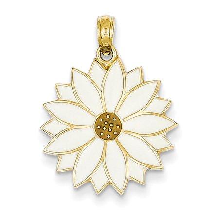 Enamel Flower Daisy - 14k Enameled White Daisy Flower Pendant K1967