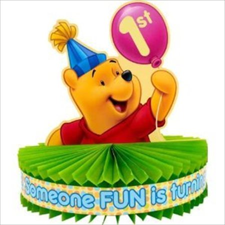 - Winnie the Pooh Balloon 1st Birthday Centerpiece (1ct)