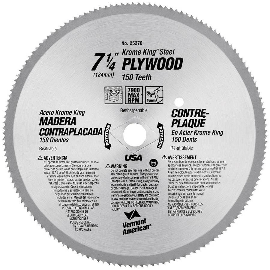 "Vermont American 25270 7-1/4"" 150 TPI Plywood Krome King Circular Saw Blades"