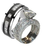 his hers 320 ct cz wedding ring set stainless steel black plated titanium