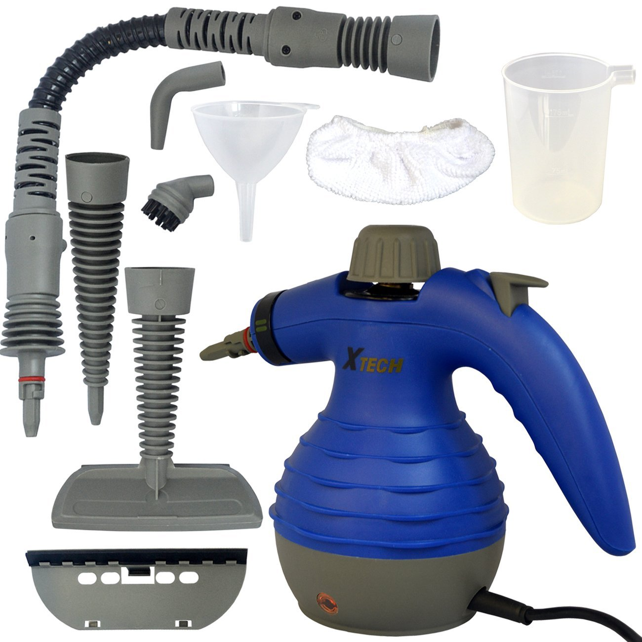 Xtech Multi-Purpose Electric Steam Cleaner plus 9 Assorted attachments and Accessories including Long Spray Nozzle, Round Brush Nozzle + More