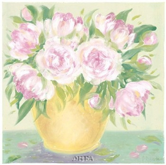 Yellow Vase Peonies II Poster Print by Patricia Roberts (18 x 18)