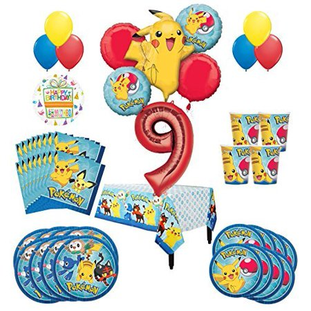 Pokemon 9th Birthday Party Supplies and 16 Guest 95pc Balloon Decoration Kit - Pokemon Party Supplies Walmart