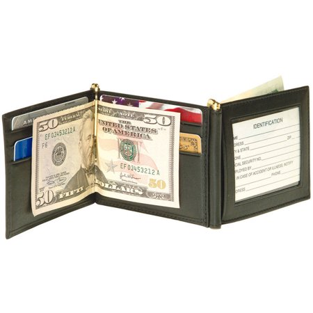 Black Money Clip - Men's Double Money Clip Bifold Wallet in Genuine Leather