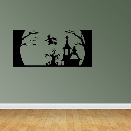 Interior Design For Halloween (Halloween Scene Haunted House Graveyard Bats Witch Trees Witch's Haunted House Halloween Wall Decals Seasonal Interior Decor)