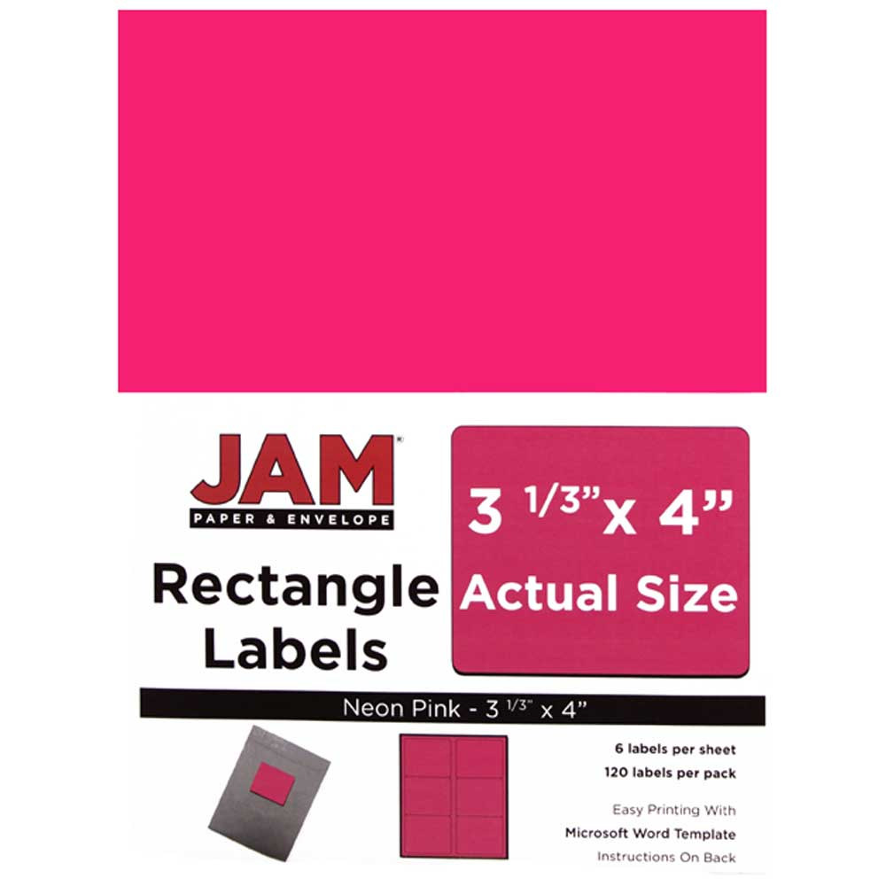 JAM Paper Shipping Address Labels, Large, 3 1/3 x 4, Neon Fluorescent Pink, 120/pack