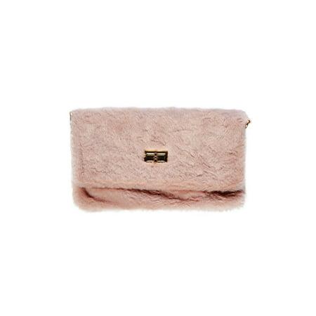 Womens Soft Faux Fur Square Metal Lock Clutch Crossbody Purse - Fur Shoulder Bag
