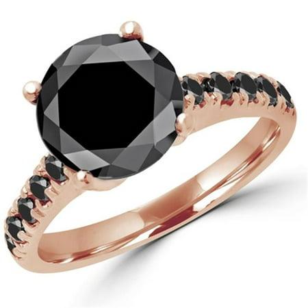 3.63 CTW Round Black & Blue Diamond Multi Stone Engagement Ring in 14K Rose Gold, Size 5.75 - image 1 de 1