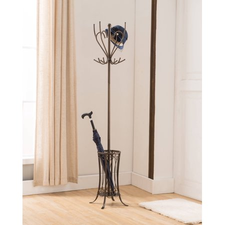 Cameo Pewter Metal Transitional 12 Hook Round Hat & Coat Rack Stand With Umbrella (Pewter Metal)