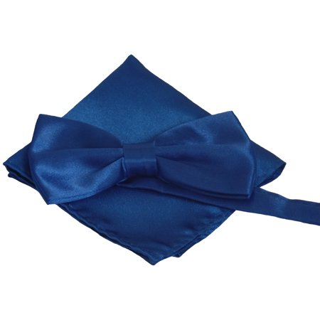 Mens Smooth Satin Feel Pre-Tied Bow Tie and Pocket Square