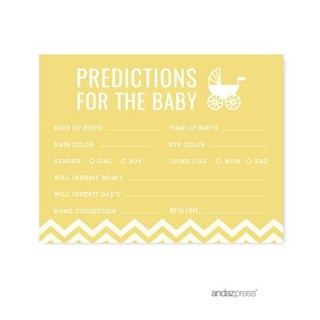 Predictions For Baby Yellow Chevron Baby Shower Games, 20-Pack - Yellow Ducks Baby Shower Theme
