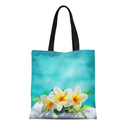 Spa Tote (LADDKE Canvas Tote Bag Frangipani Flowers Border Over Blue Water Spa Still Life Reusable Shoulder Grocery Shopping Bags Handbag )