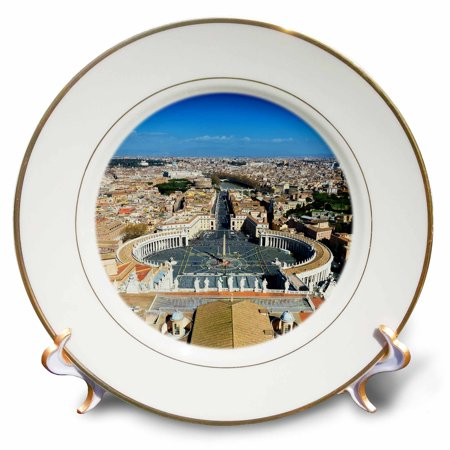 3dRose St. Peters Square seen from the dome of St. Peters Basilica in Rome - Porcelain Plate, 8-inch