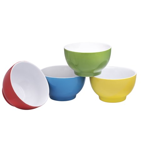 Everyday Ceramic Bowls - Cereal, Soup, Ice Cream, Salad, Pasta, Fruit, 20 oz. Set of 4 (Multicolor) Colorwave Mustard Pasta Bowl