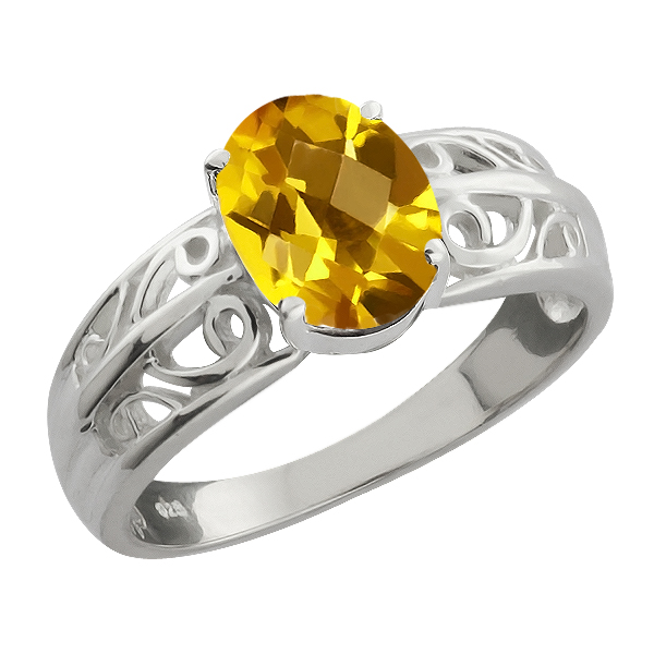 1.25 Ct Checkerboard Yellow Citrine Sterling Silver Ring