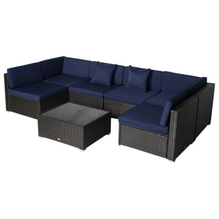Outsunny 7 Piece Patio Wicker Sofa Set Sectional Rattan Outdoor Furniture