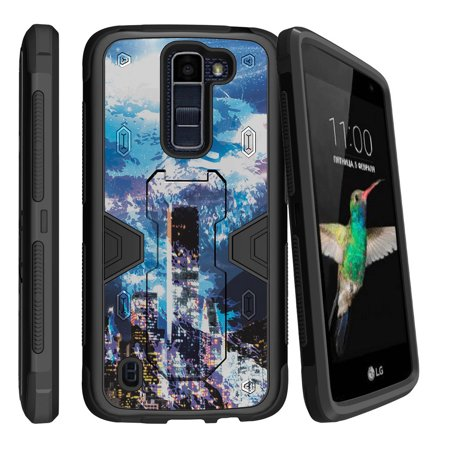 LG K8 | Escape 3 Dual Layer Shock Resistant MAX DEFENSE Heavy Duty Case with Built In Kickstand - Cosmic Spirit of the Night