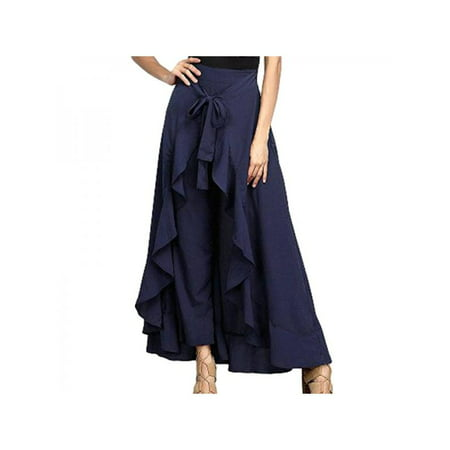 Nicesee Women High Waist Wide Leg Long Skirt Pants Chiffon Pleated Loose Dress