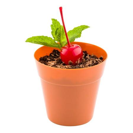 Mini Flower Pot - Terracotta Color, Premium Food Grade Disposable Plastic - Appetizers, Desserts, Side Dishes - Get Creative - 100ct Box - Mini Pots