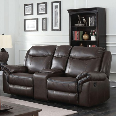 Transitional Brown Faux Leather Upholstery Loveseat Chenai Furniture of America