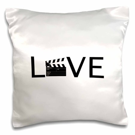 3dRose Love with movie clapper for O - filming buff film making - black text - Pillow Case, 16 by 16-inch