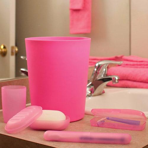 Everyday home 5 piece bathroom wastebasket and toiletry for Bathroom wastebasket sets
