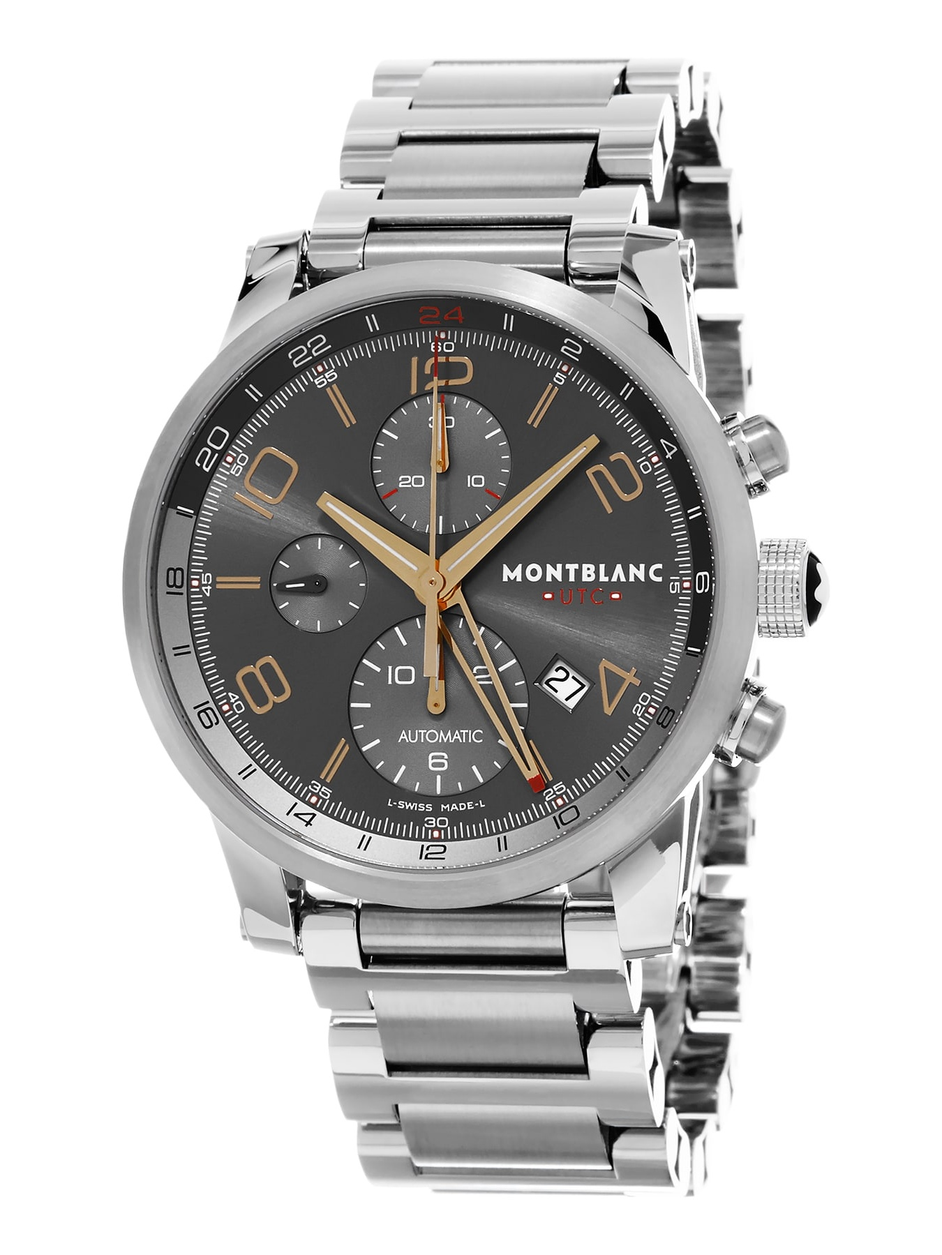Mont Blanc  Men's 107303 'Time walker UTC' Grey Dial Stainless Steel Chronograph GMT Swiss Automatic